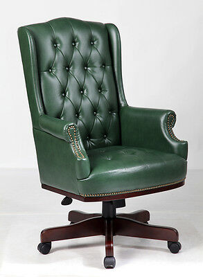 Antique Green Chesterfield Antique Style Captains Leather Office Desk Chair