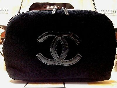 "Black Velvet Chanel beauty VIP gift bag CC Patent  Pouch☾*Fashion* ""FREE POST!""☽"