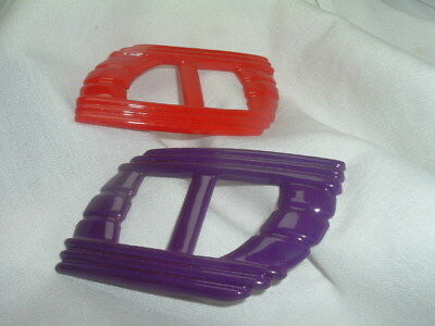 Vintage Large Art Deco Red and Purple Celluloid Belt Buckles Tee Shirt Pulls