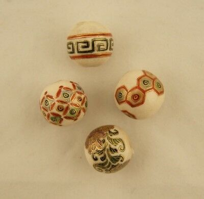 Antique Japanese Meiji Satsuma set of 4 painted floral/geometric beads & buttons
