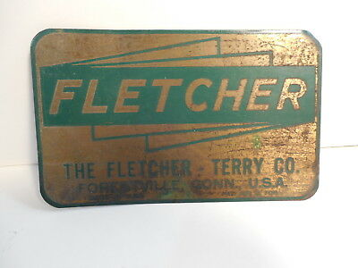 "Vintage Fletcher~Terry Co. Tin Sign/Badge~Gold & Green~Measures 4 1/2 "" long"