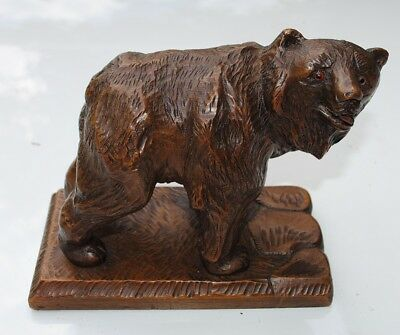 Antique Swiss Black Forest Wood Carving Grizzly BEAR Walking, Brienz marked 1946