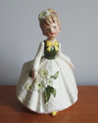 Lefton Lady Planter MR 6639 Green Yellow Flowers Label Vintage Japan