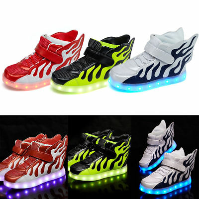 Boys Girls LED Light up Trainers Shoes Wings Kids Luminous Sneakers Casual Shoes