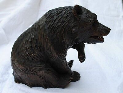 Antique Swiss Black Forest Wood Carving Brown BEAR Sitting, Brienz