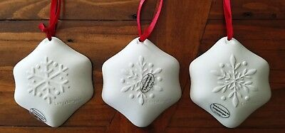 Longaberger Pottery Snowflake Cookie Mold Christmas Ornaments Set of 3 New