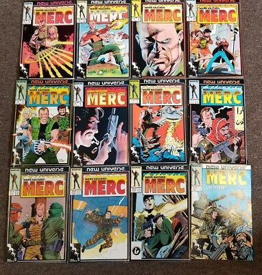 Marvel New Universe Merc Mark Hazzard complete set 1,2,3,4,5,6,7,8,9,10,11,12