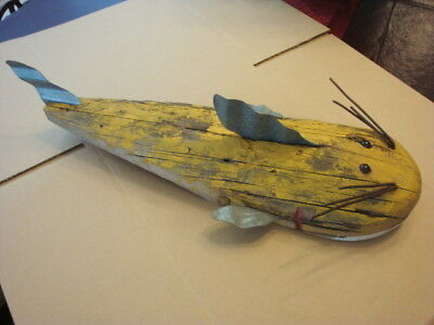 FOLK ART HANDMADE Wood CATFISH Wall Hanging Cabin Lake Fishing Decor ...