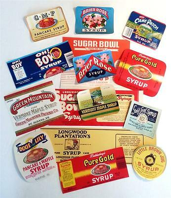 15 Different Original Vintage Syrup Labels From Ga., Mo., Ma., La., Tn., &  Vt.