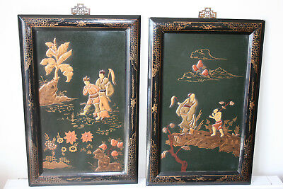 2 Pcs Chinese Wooden Carving and Painting Wall Hanging Picture