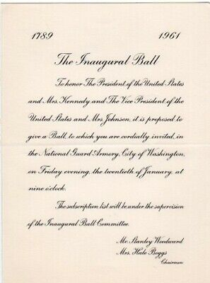 1961 John F. Kennedy Inaugural Ball Invitation