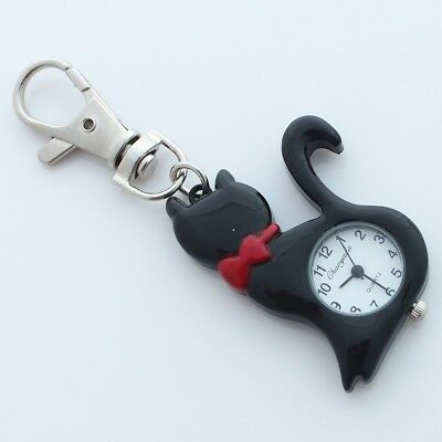 Brand New Black Lovely CAT Pocket Watch Key Ring Chain Watches Pendant GL58KH
