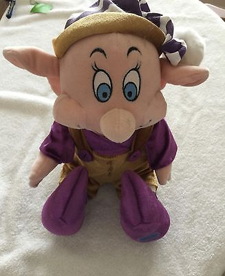 """Vintage Disney Store 12"""" Tall Dopey Plush With A Jingle Bell  -  Orig Upc Tag"""