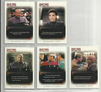 2007 Quotable Star Trek Deep Space Nine LOT OF 5 Promo Cards (P1-P2-P3-CP1-SD07)