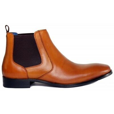 Justin Reece Mens Bert Chelsea Leather Boots Brown Tan Various Sizes