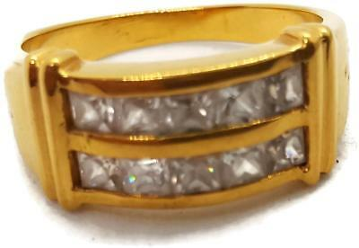 Vintage Ring - 23K Gold Plate and Clear Stone - sz 12
