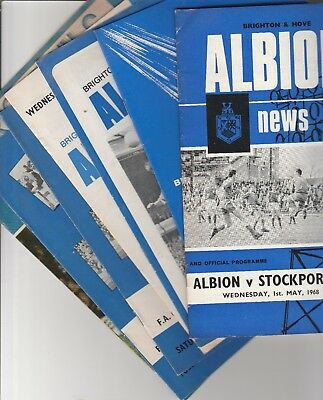 Brighton & Hove Albion Home Programmes 1968 Onwards