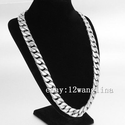 15mm Heavy Smooth Curb Boy Mens Chain Silver 316L Stainless Steel Necklaces