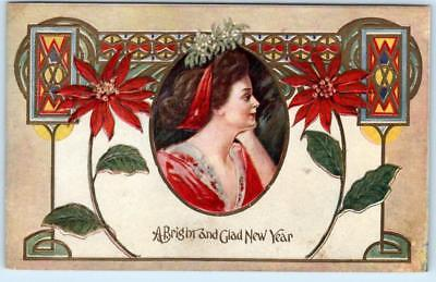 Arts and Crafts  A BRIGHT and GLAD NEW YEAR  Embossed ca 1910s    Postcard