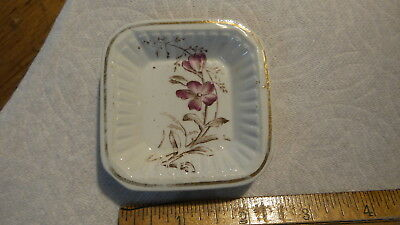 Antique Wood & Son China  BUTTER PAT Red Floral, Square, RN5534, England