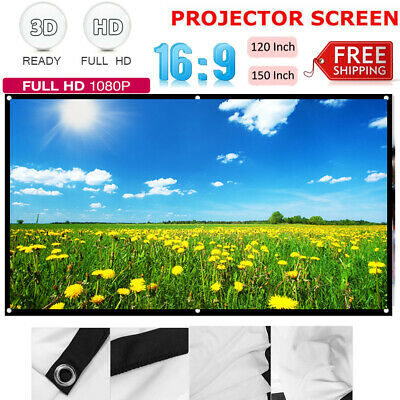 "60"" 84"" 150"" Portable Foldable Wall Projector Screen 16:9 Home Theater Outdoor"