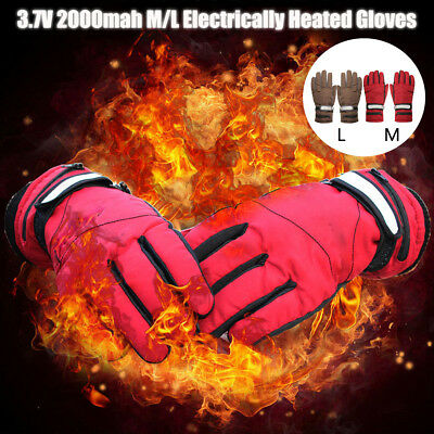 AU 2000mAh Rechargeable Battery Power Heated Gloves Motorcycle Warmer+Charger