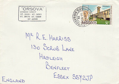 (14297) CLEARANCE Barbados Cover Orsova cachet 16 November 1973 FAIR/GOOD