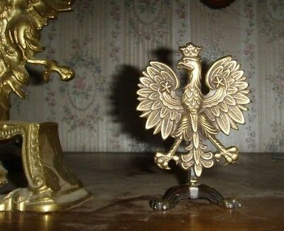 Polish ARMY EAGLE for officers cabinet table Poland white eagle with crown WWII