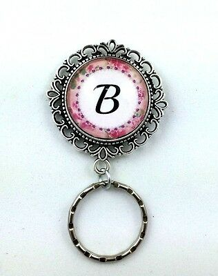 Victorian Rose  Monogram  Magnetic ID Badge Eyeglass Holder,  Magnetic Pin Brooc