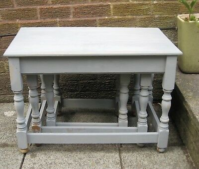 Vintage Nest of 3 tables Painted in Anthracite Grey Chalk Paint c1980
