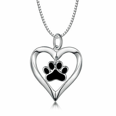 Puppy Dog Paw Print Pendant Sterling Silver Love Heart Necklace Gifts For Women