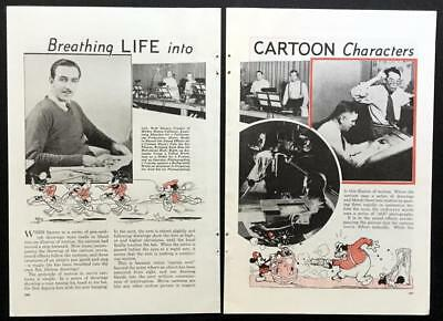 Walt Disney Cartoons Mickey Mouse 1935 Animation techniques vintage pictorial