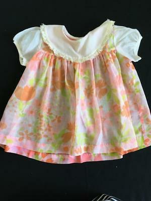 Vintage 1960s outfit baby dress orange yellow floral girls 18 months