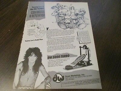 DW Drum Workshop - Tommy Lee - Motley Crue 1987 Magazine Print Ad