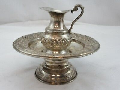 Sterling Silver 925 Mayim Achronim Hand Washing Cup  Saucer Last Water Set Used