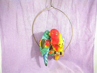 Vintage Parrots Swinging Branch Wire Hanging Planter Birds Macaw Large 9""