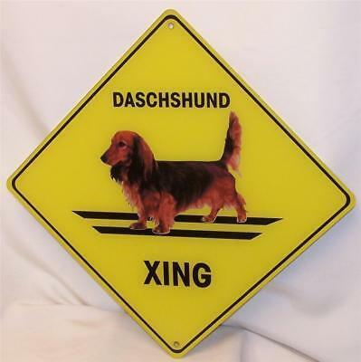 Dachshund Long Haired Dog Crossing Xing Sign New Acrylic