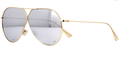 8c6f913ec0 Brand New Christian Dior Silver Mirrored Sunglasses Stellaire 3 J5G Gold  Women