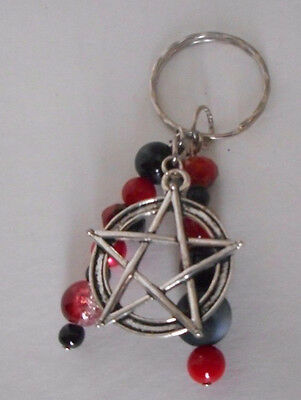 Hand Crafted beaded key chain backpack charm red black pentagram/pentacle