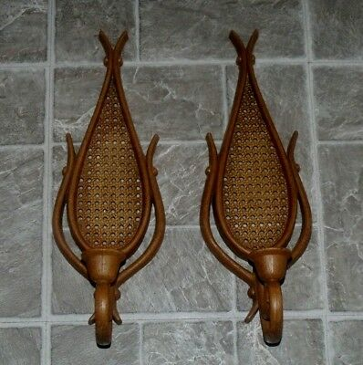 Vtg Homco Home Interiors Rattan Wicker Wood Tone Candle Holders Sconces Set Sale