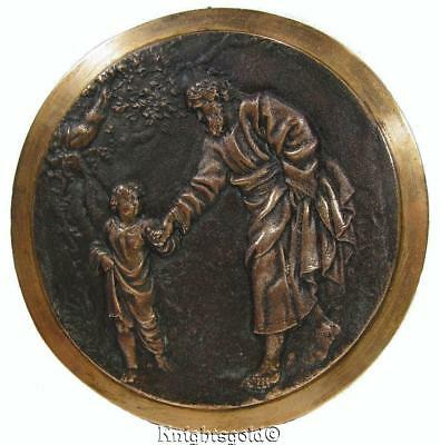 Saint Joseph & Jesus Wall Hanging Plaque Plate Cast Brass 50s Art 19 cm 1kg