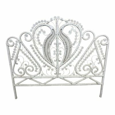 Vintage WICKER HEADBOARD Full Size mid century white bed boho chic rattan double