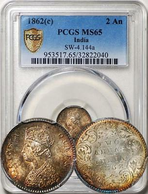 British India 1862(C) 2 Anna PCGS MS-65. Toning. Full luster. Choice BU coin.