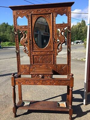 Antique Oak Hall Tree Carved Ornate Dragon Victorian Eastlake Griffin Lion Asian