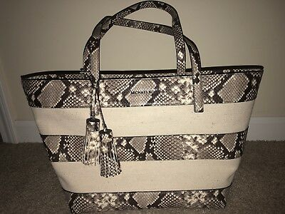 cac5534b71be MICHAEL KORS STRIPE Canvas Large East West Tote (Natural) - $179.99 ...