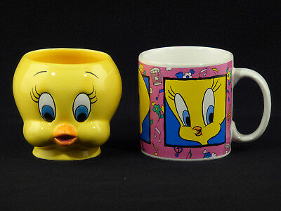 Warner Bros. TWEETY BIRD Face Coffee Mug Cup - Lot of 2