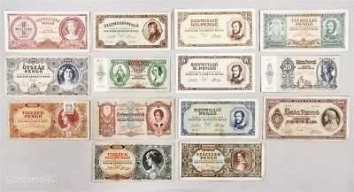 Lot of 14 Hungary Paper Currency Notes in Mixed Grades, 1932-1946 Issue Dates