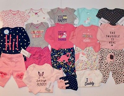 8a2887e8d0c1 NEWBORN CARTERS NEW BABY GIRL CLOTHES LOT Outfit Sets Layette ...