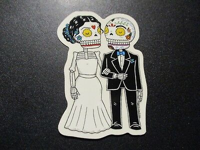 THE WEDDING COUPLE bride groom MUERTO Art Sticker Print DIA DE LOS JOSE PULIDO