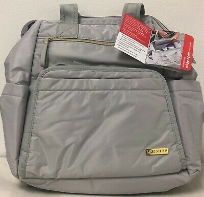 Skip Hop Mainframe Wide Open Baby Diaper Bag Backpack Changing Pad Cement NEW